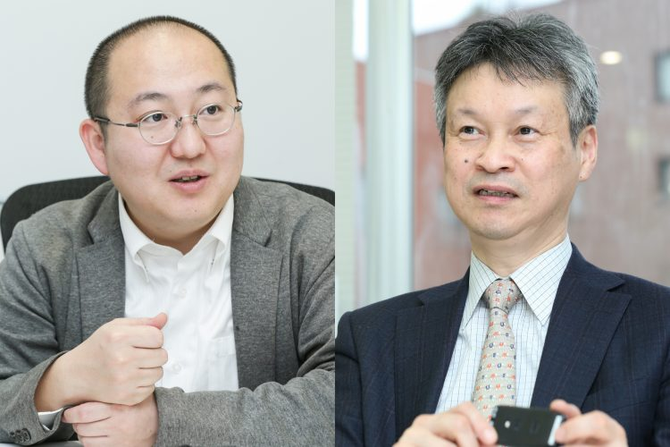 Left: ExaWizards President and CEO Ko Ishiyama is striving to resolve social issues through utilizing artificial intelligence. Right: NeU CEO Kiyoshi Hasegawa has long focused his attention on industrial applications of brain science.