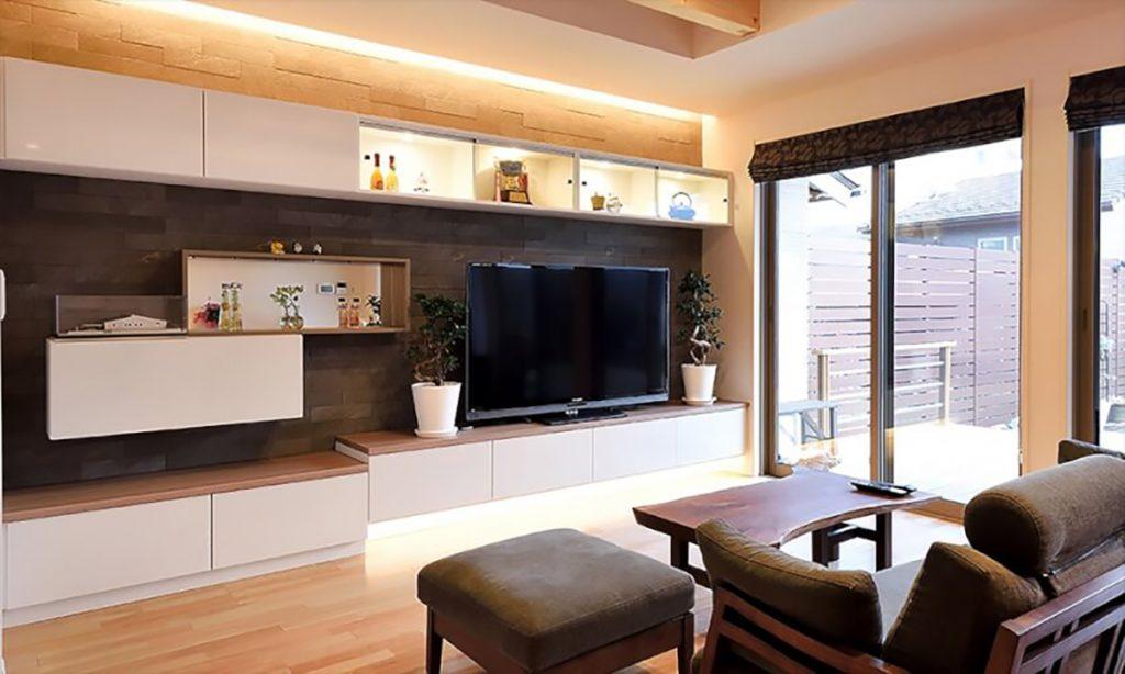 "A ""dream living room"" features Estorage's custom-built wall storage furniture."