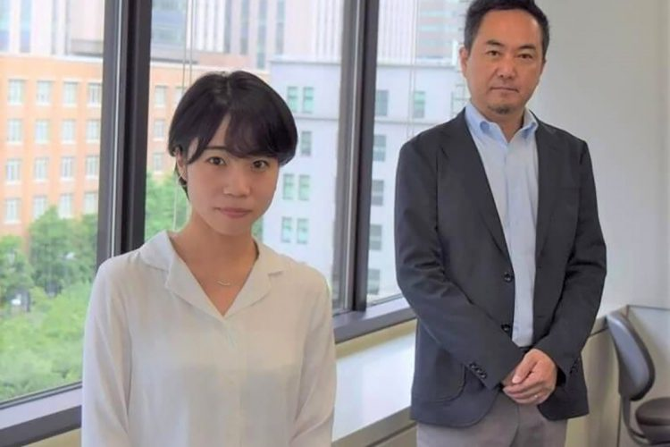 Aircraft component and material industries office Chief Akira Miyakoshi (right) and Deputy Director Sakura Murahashi both of the Aerospace and Defense Industry Division, pose at the Ministry of Economy, Trade and Industry.